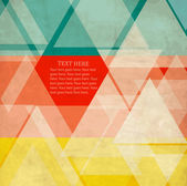 Abstract vintage geometric color-blocked template with triangles — Stock Vector
