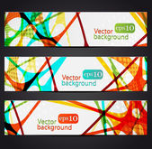 Set of three colorful abstract horizontal banners — Stock Vector