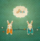Vintage scrap template with bunnies, love card — Stock Vector