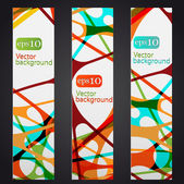 Set of three colorful abstract vertical banners — 图库矢量图片