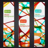 组的三个多彩抽象垂直横额 — 图库矢量图片