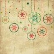 Vintage card with Christmas balls — Imagen vectorial