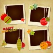 Stock Vector: Scrap holiday vintage photo frames for Christmas and New Year