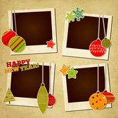 Scrap holiday vintage photo frames for Christmas and New Year — Stock Vector