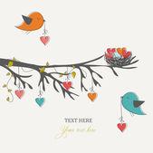 Tarjeta romántica para el día, los pájaros y los corazones de san valentín — Vector de stock