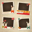 St.Valentine's Day photo frames with rabbits — Stock Vector
