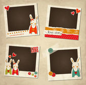 St.Valentine's Day photo frames with rabbits — 图库矢量图片