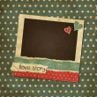Scrap vintage card with photo frame, St.Valentine's Day photo frame with hearts — Stock Vector