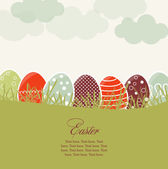 Card with colorful Easter eggs — Stock Vector