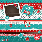 Scrap template for 4th of July with photo frame — Stock Vector
