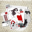 Scrap vintage fashion template with girl and trendy clothes — Stock Vector