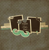 Father's Day card, mustache and sunglasses scrap card with photo frames — Stock vektor