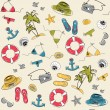 Summer vacation holiday seamless pattern - Stock Vector