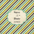Striped wedding invitation card with frame — Vektorgrafik
