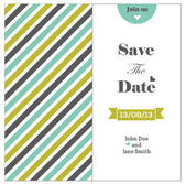 Wedding invitation with colored stripes, romantic template — Stock Vector