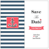 Wedding nautical invitation card with anchor — Stock Vector