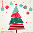 Retro Christmas card with tree and ornaments — Vettoriali Stock