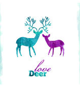 Watercolor deer's love, VECTOR artistic illustration — Stock Vector