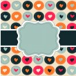 Scrap card with hearts and frame, love template background — Stock Vector
