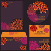 Floral orange-violet business template, set of elements with bright flowers for your personal design for any occasion — Stock Vector