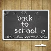 Zpátky do školy ilustrace s textem tabule a křídy — Stock vektor