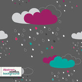 Cloud Rain seamless pattern. Dark background. Vector illustration. — Stock Vector