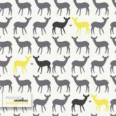 Modello senza giunte di natale cervi, annata vettoriale illustrazione senza soluzione di continuità — Vettoriale Stock