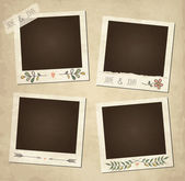 Scrap template of vintage worn distressed design with photo frames and other elements — Stock Vector