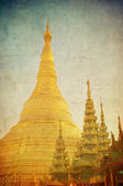 Vintage image of Shwedagon pagoda, Yangon, Myanmar — Photo
