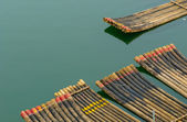 Traditional chinese bamboo rafts — Stock Photo