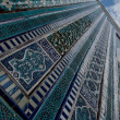 Blue tiled facades of Shahi-Zinda Necropolis, Samarkand, Uzbekis - Stock Photo