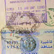 Passport with egyptian and singaporean stamps — Stock Photo