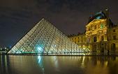 Louvre museum at night, Paris, France — Stock Photo