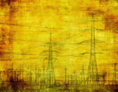 High voltage, industrial grunge background — Stock Photo