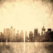 Grunge image of new york skyline — Stock Photo