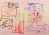 Passport with thai and hongkong and lebanese stamps — Stock Photo
