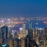 Hong kong dans la nuit, vue depuis le pic victoria — Photo