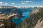 Trolltunga, Troll's tongue rock, Norway — Stock Photo
