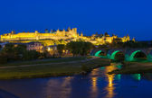 Medieval town of Carcassonne at night — Stock Photo