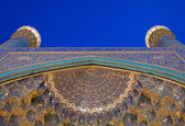 Architectural details of Imam Mosque at night, Isfahan, Iran — Stock Photo
