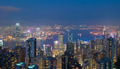 Hong Kong at night, view from Victoria Peak — Stock Photo
