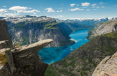 Trolltunga, Troll's tongue rock, Norway — Stock Photo