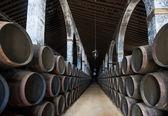 Sherry barrels in Jerez bodega, Spain — Stock Photo