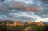 Pohled na panorama alhambra palace, granada, španělsko — Stock fotografie