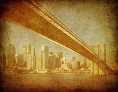 Nieczysty obraz brooklyn bridge, new york, stany zjednoczone ameryki — Zdjęcie stockowe