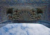 Iwan of the mosque, oriental ornaments from Samarkand, Uzbekista — Stock Photo