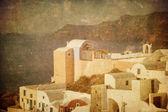 Vintage bild av oia byn på santoriniön, grekland — Stockfoto