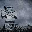 Grunge image of a cross in the cemetery, perfect halloween backg - Stock Photo