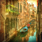 Vintage image of Venetian canals — Stockfoto