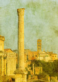 Vintage image of roman ruins, rome, italy — Photo
